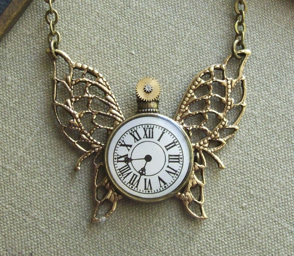 Steampunk-Butterfly-Necklace-with-Pocket-Watch-Charm-and-Gears