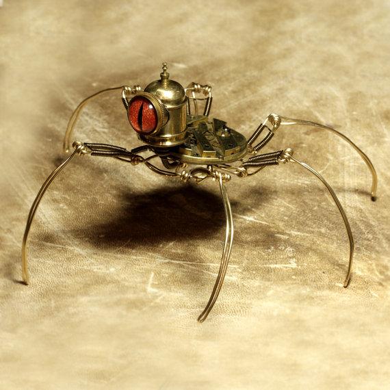 Steampunk-Speudo-Spider-Robot-Sculpture-with-Orange-eye-2
