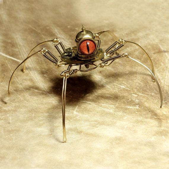 Steampunk-Speudo-Spider-Robot-Sculpture-with-Orange-eye