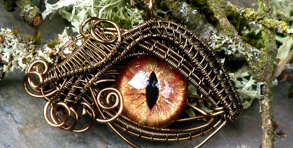 Gothic Steampunk Bronze Evil Eye Pendant Steampunk Art