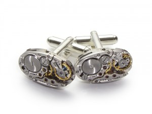 Steampunk cufflinks pinstripe with Hamilton watch movements