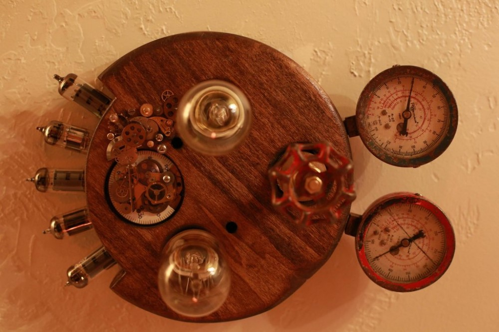 Steampunk Ceiling Light Fixture Made From Steampunk