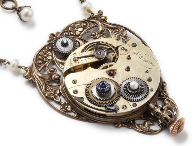 Steampunk jewelry necklace